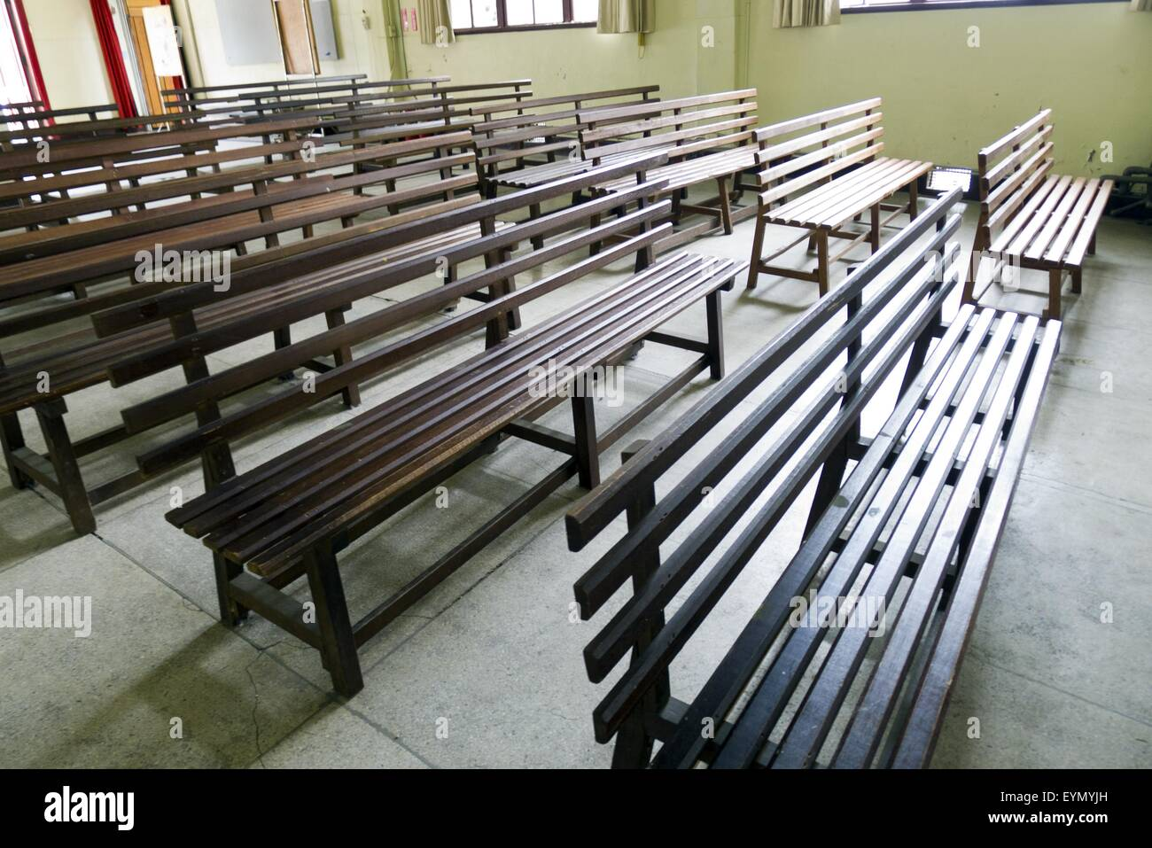 Vintage Old Wooden Benches Inside Church Wide Angle View Stock