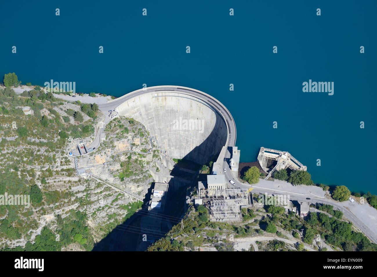CASTILLON DAM (aerial view). Reservoir on the Verdon River. Near Castellane, in Alpes-de-Haute-Provence, France. Stock Photo