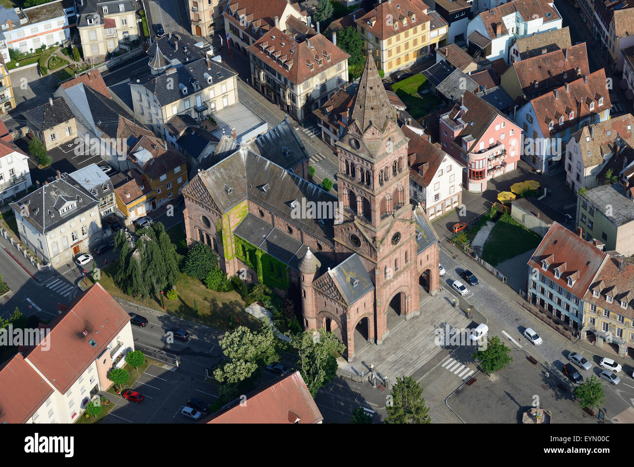 PROTESTANT CHURCH (aerial view). 'Église Portestante' of Munster, Vosges Mountains, Alsace, France. - Stock Image