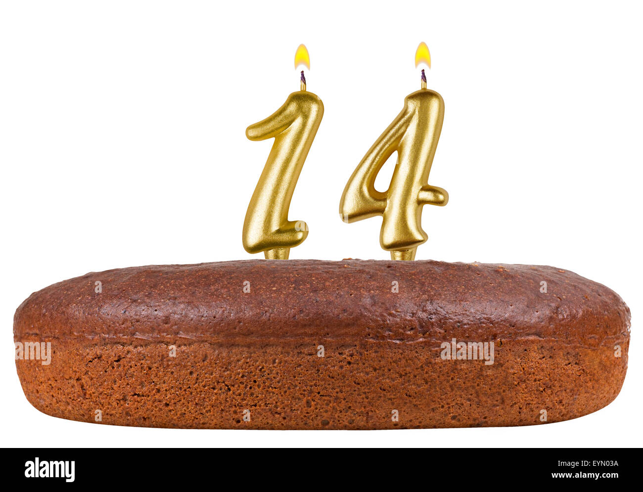 Birthday Cake With Candles Number 14 Isolated On White Background