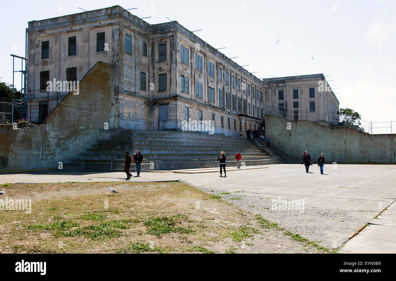 The Recreation Yard in Alcatraz, San Francisco, USA - Stock Image