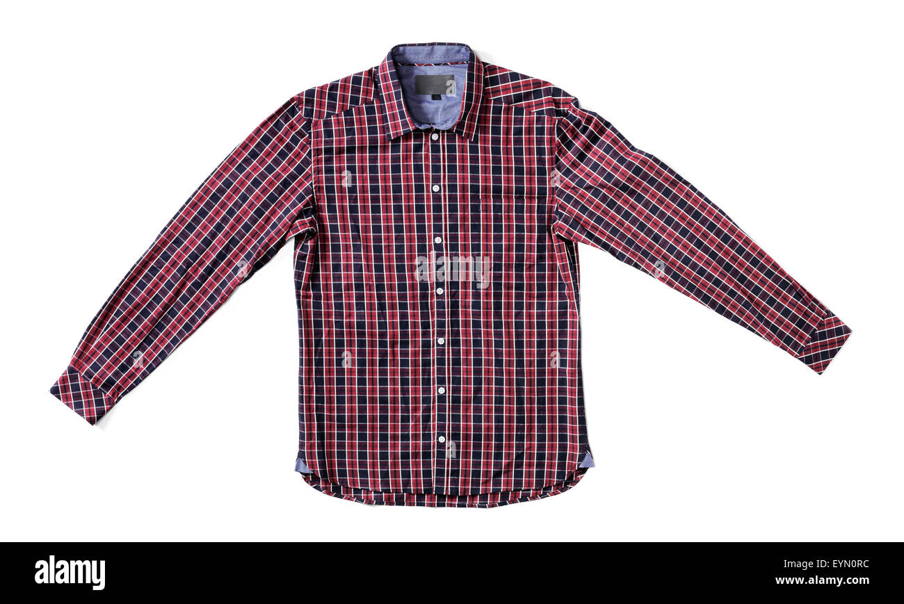 Men's red and black plaid shirt isolated on white with natural shadows. - Stock Image