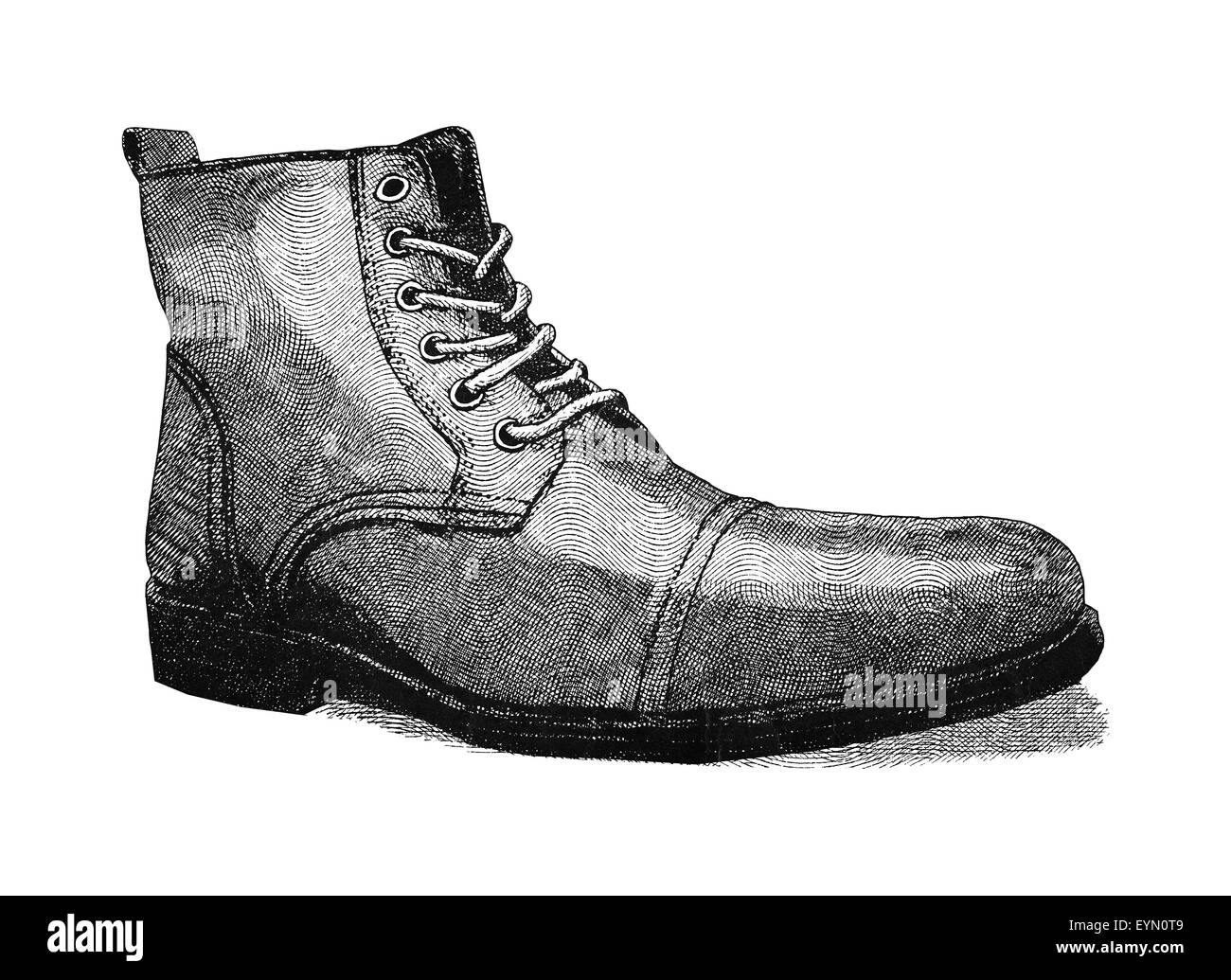 Original digital illustration of a shoe, in style of old engravings. Stock Photo