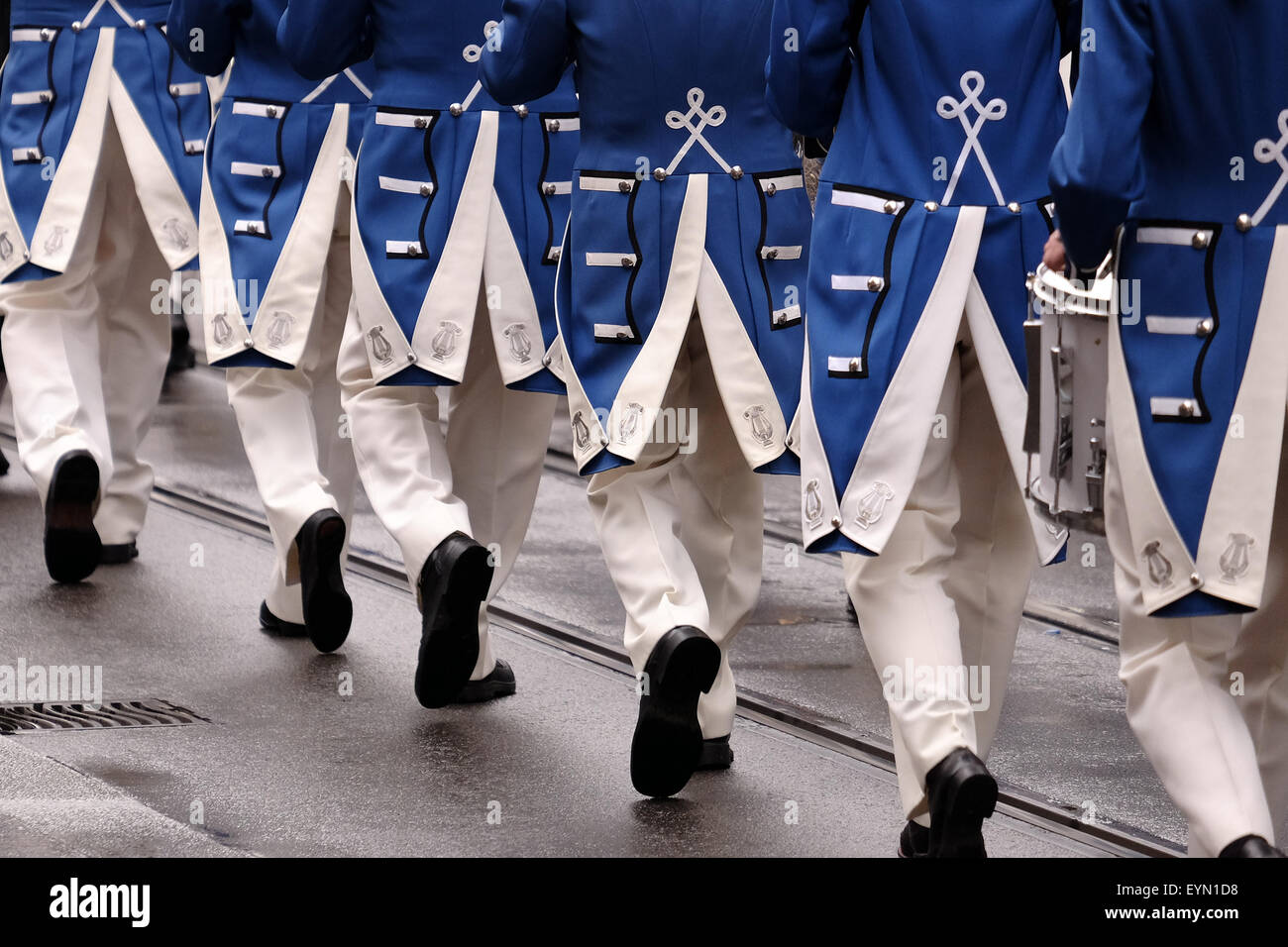 ZURICH, SWITZERLAND, 1st August, 2015. Zürich City Orchestra members march at the 1st August parade in Zürich, - Stock Image