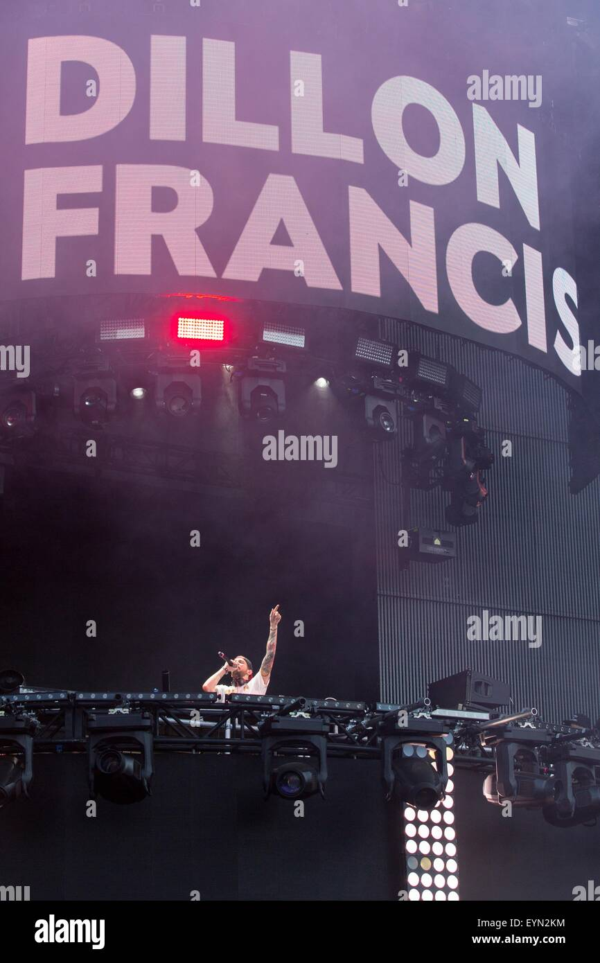Chicago, Illinois, USA. 31st July, 2015. DILLON FRANCIS performs live in Grant Park at the Lollapalooza Music Festival - Stock Image