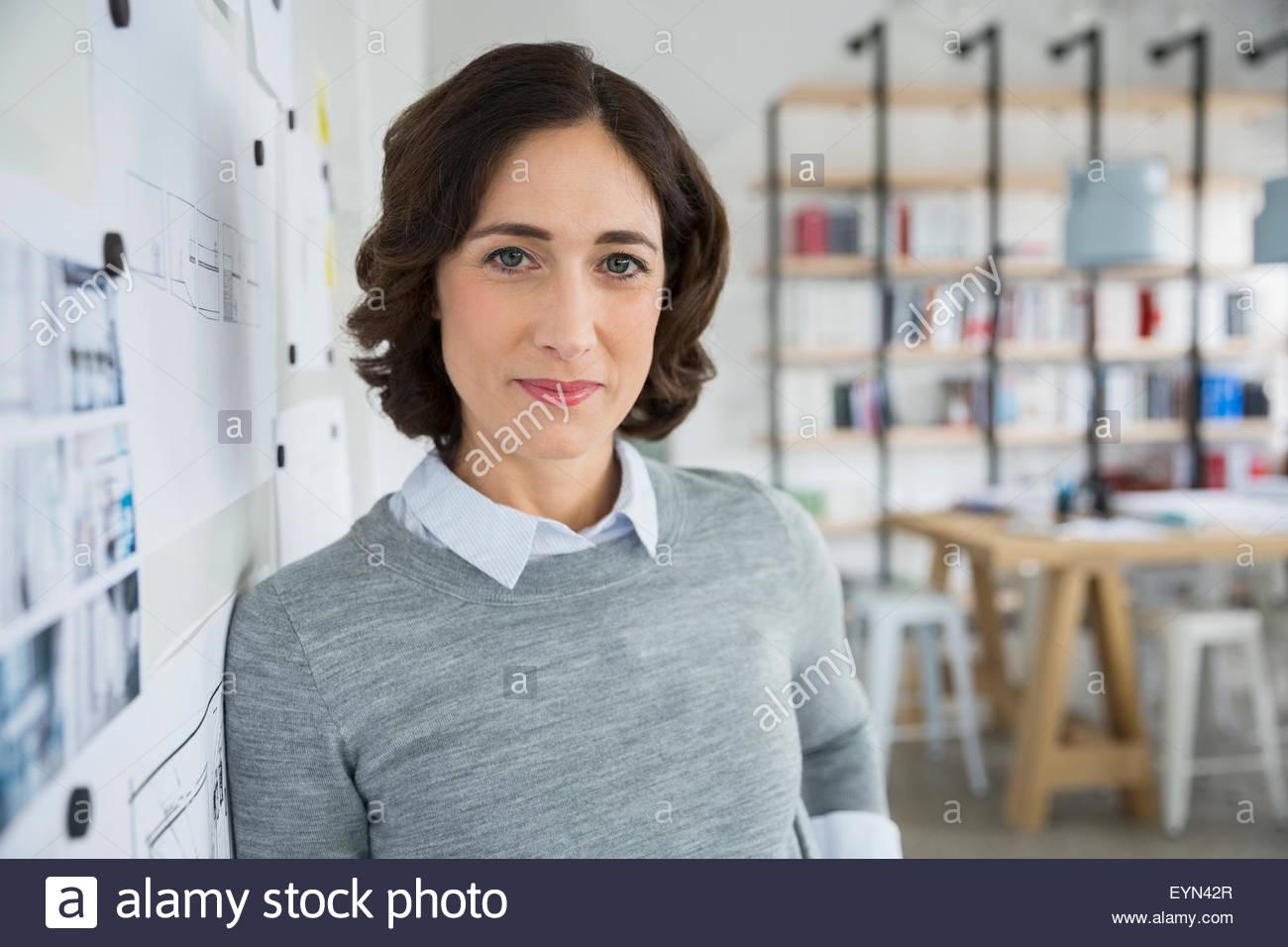 Portrait confident architect in office - Stock Image