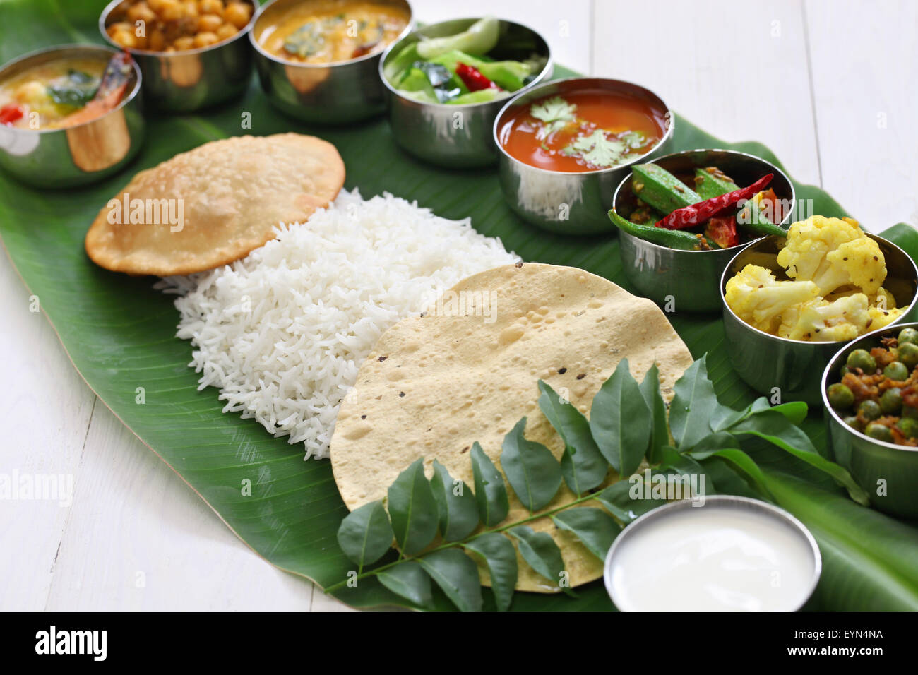 Meals Served On Banana Leaf Traditional South Indian Cuisine Stock