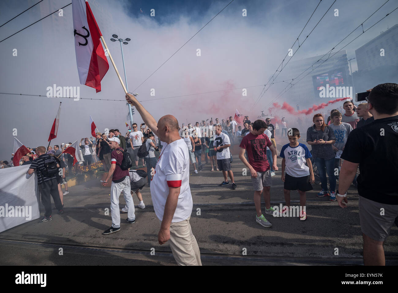 Warsaw poland st august people burns flares in city