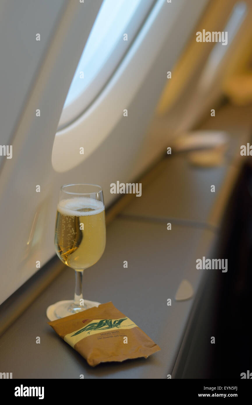 Snack and Champagne in British Airways (BA) Business Class, International Airspace, Airbus A380 Stock Photo