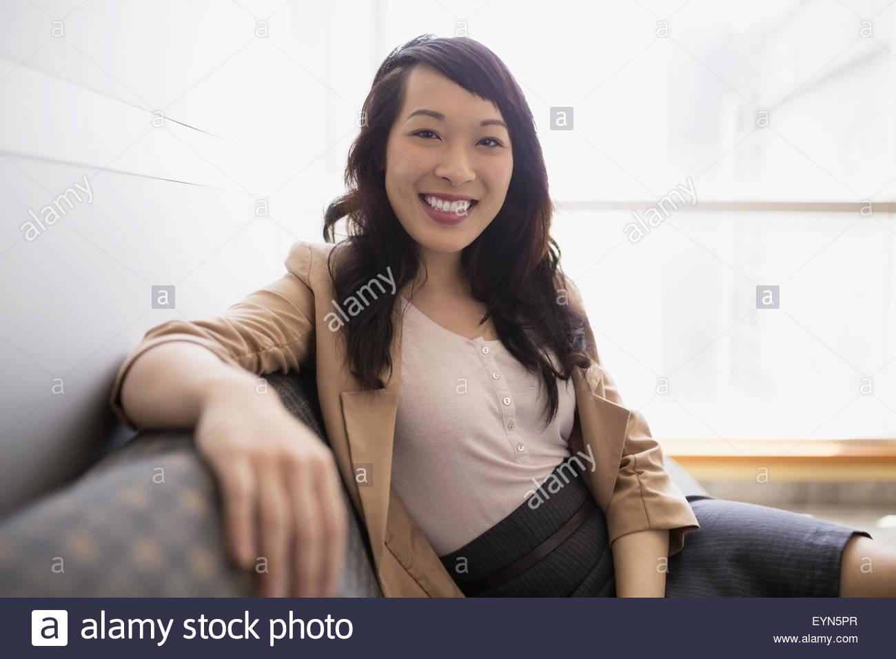 Portrait confident businesswoman - Stock Image