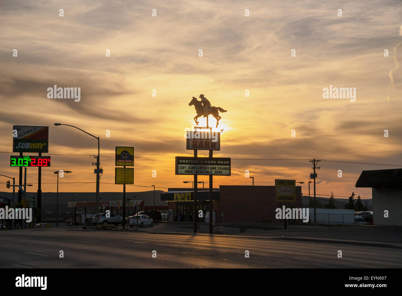 Evanston symbol in the rays of the setting sun, Wyoming, United States, USA - Stock Image