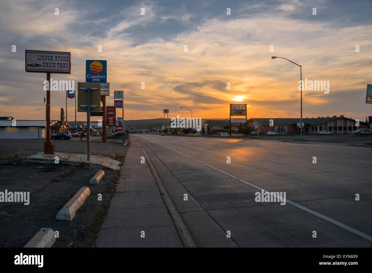 Sunset, Evanston, Sunset, Wyoming, United States, USA - Stock Image