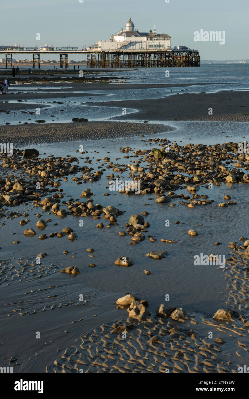 Eastbourne Pier as viewed from the shoreline at low tide. East Sussex, England, UK. Stock Photo