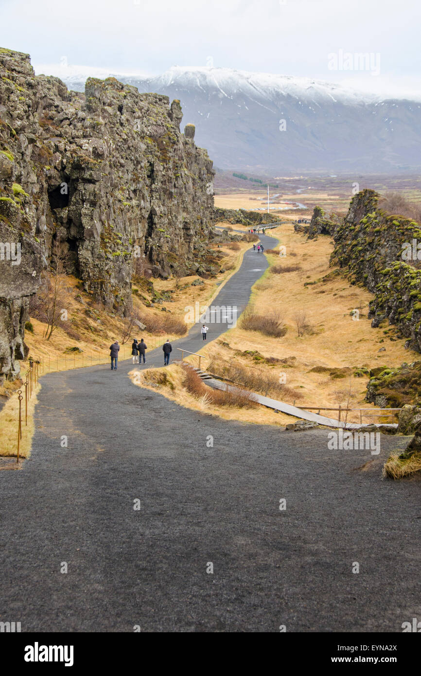 Thingvellir National Park rift valley with Law Rock in background, Iceland Stock Photo