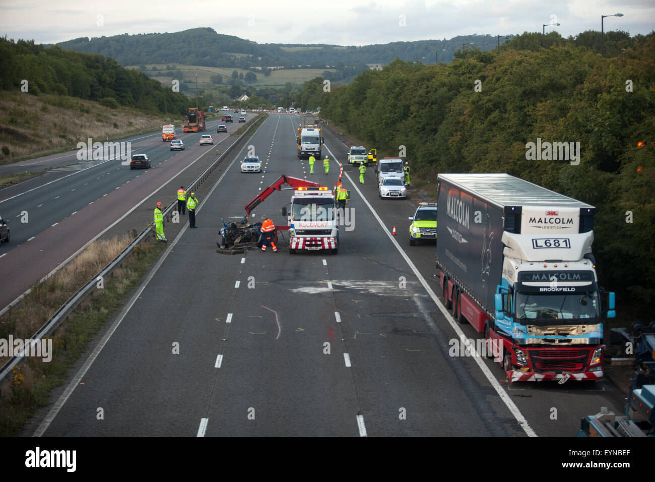 Emergency services attend a traffic accident that completely closed the southbound carriageway of the M5 on Saturday evening as thousands of holiday makers headed towards the South West coastal resorts. The incident occurred alongside Michaelwood Services - Police diverted traffic off the motorway, through the service area to rejoin the M5. Photo: South West Photos, Alamy Live News Stock Photo