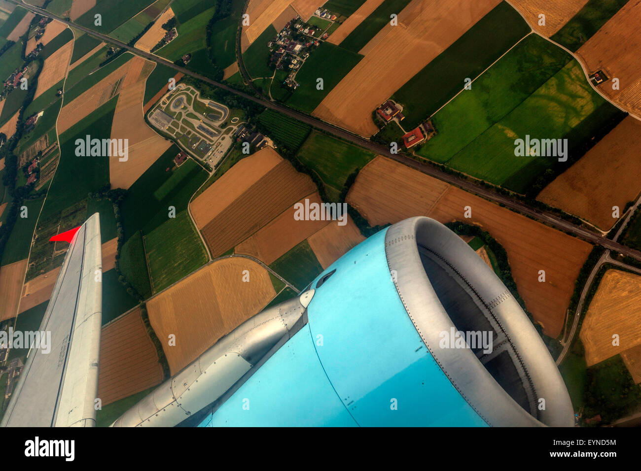 Airbus A320 Austrian engine landscape aerial view - Stock Image