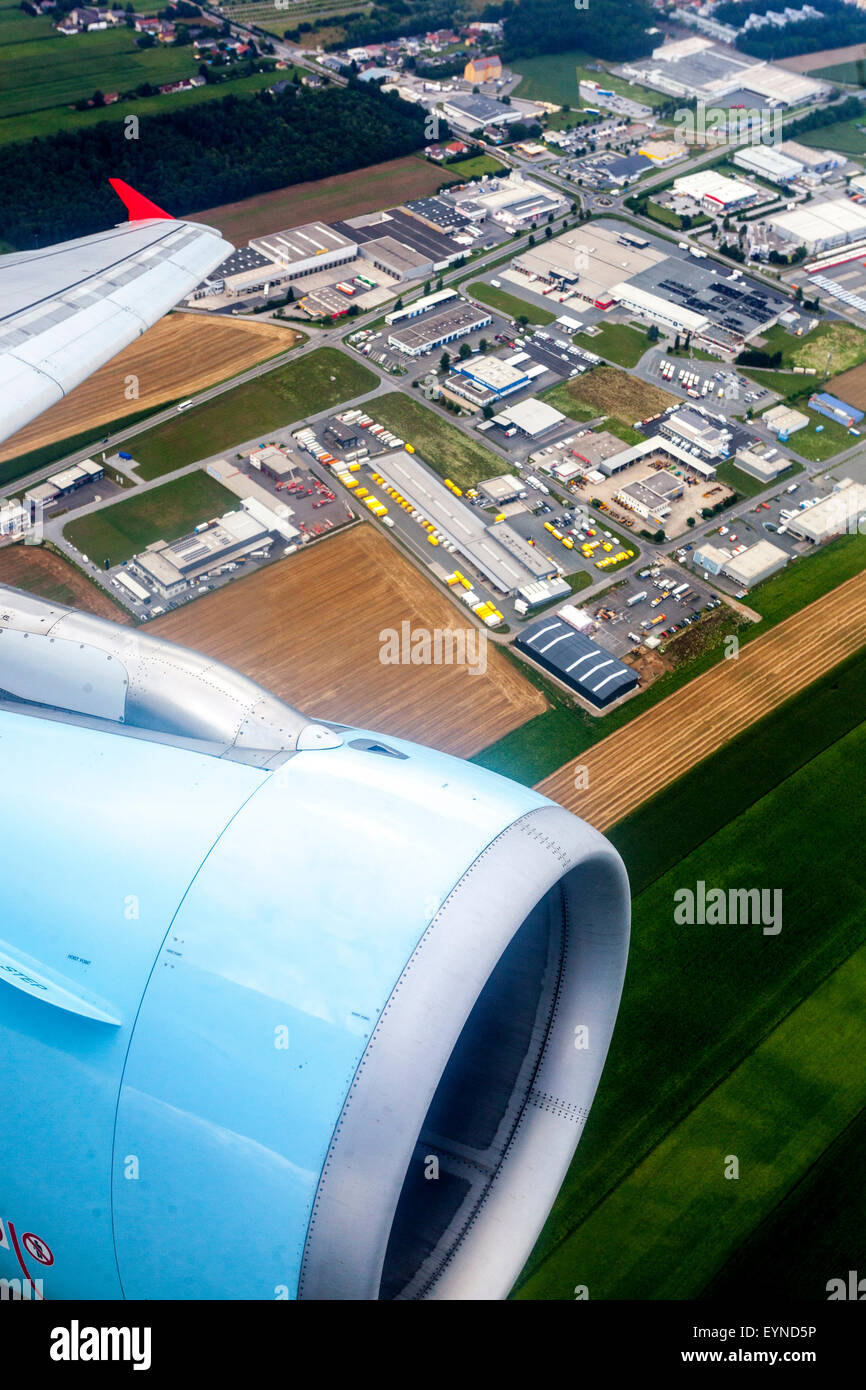 Airbus A320 Austrian  Airlines, A view from an airplane window - Stock Image