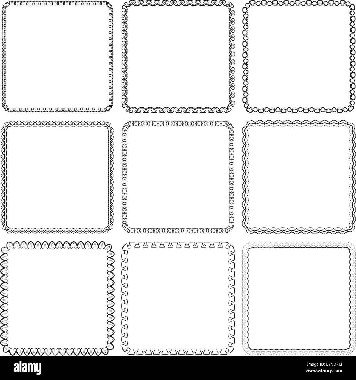 Vector set. Nine square ornamental frames. Black on a white Stock ...