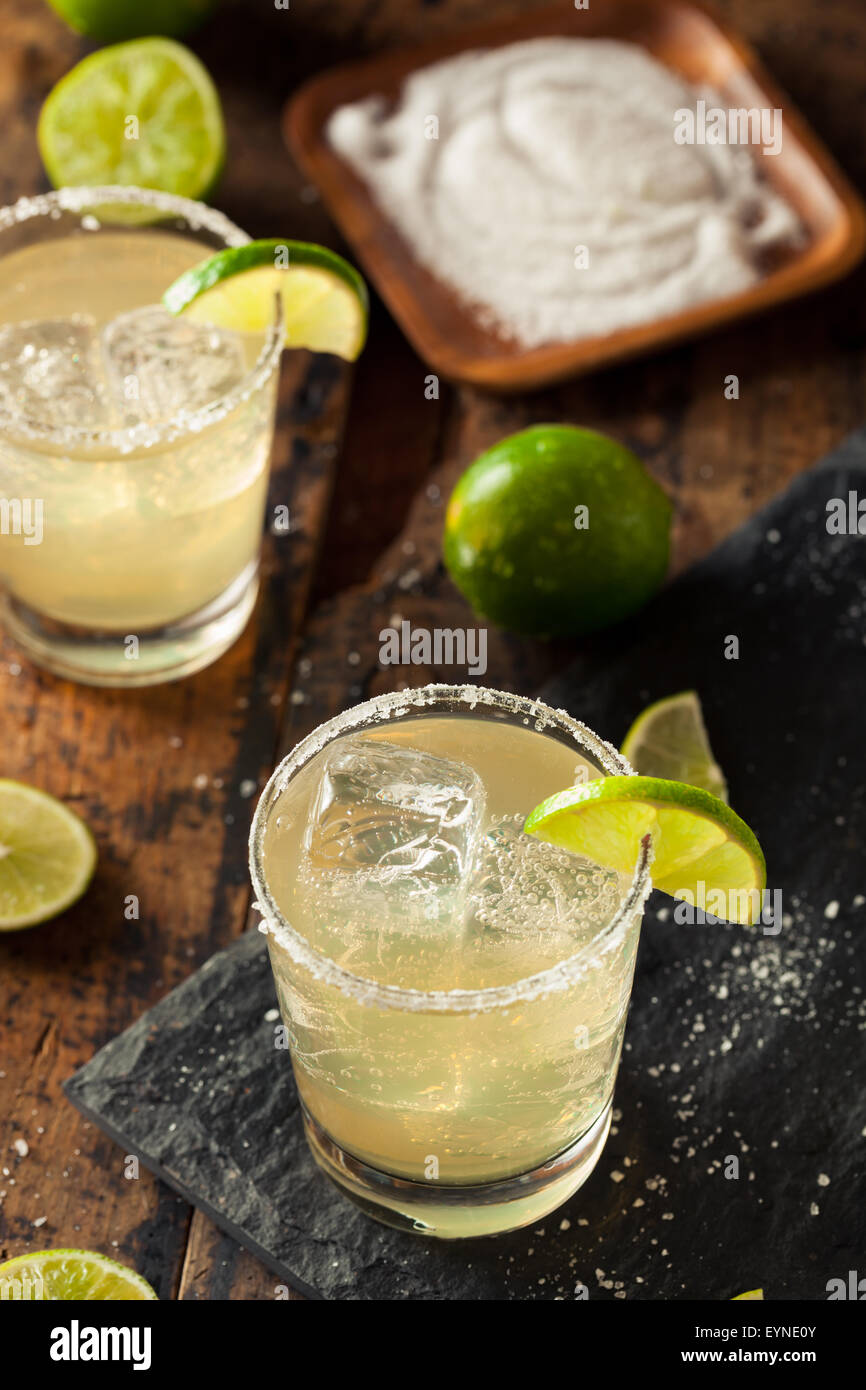 Homemade Classic Margarita Drink with Lime and Salt - Stock Image