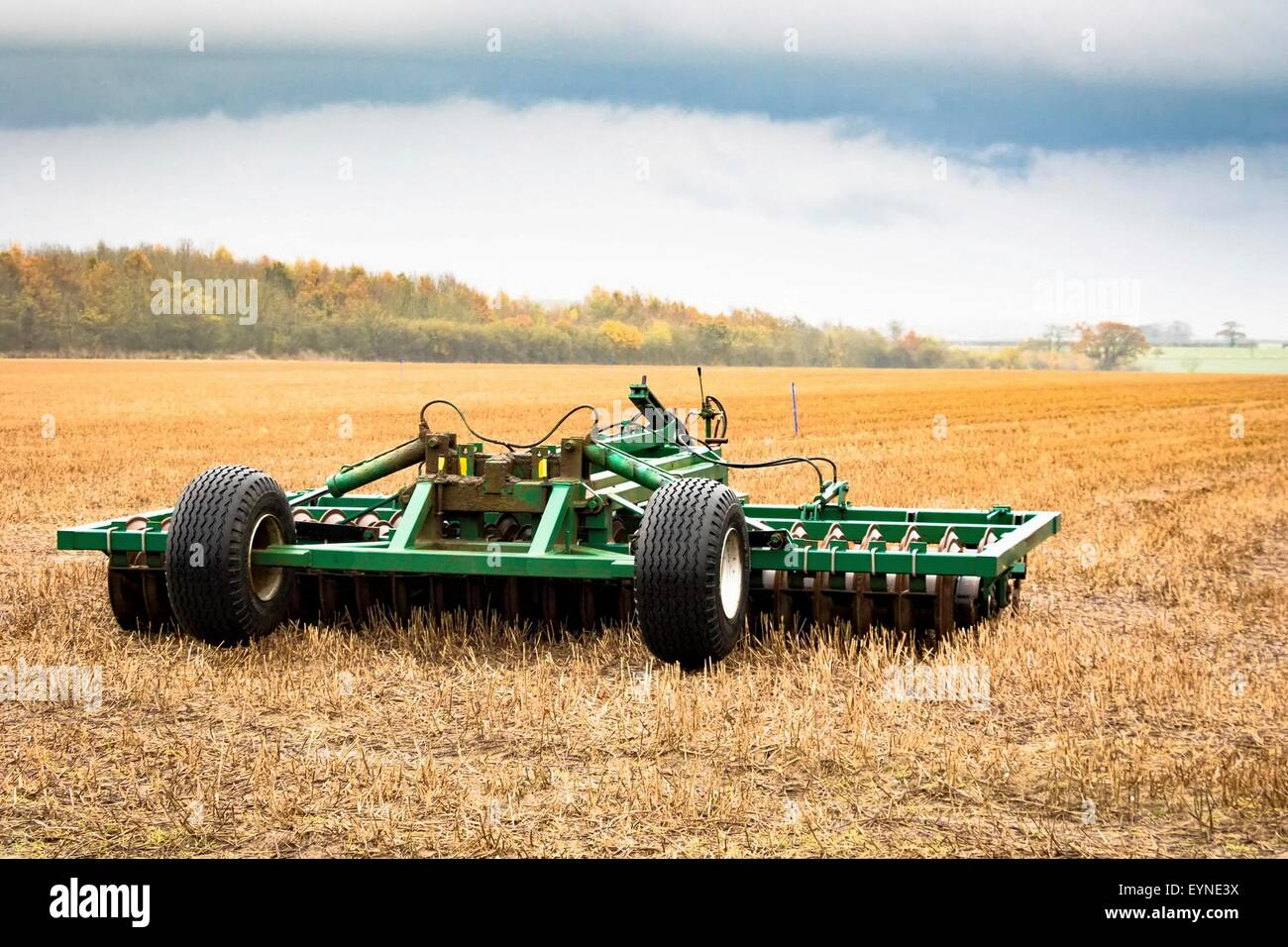 Plough in the field in autumn Stock Photo