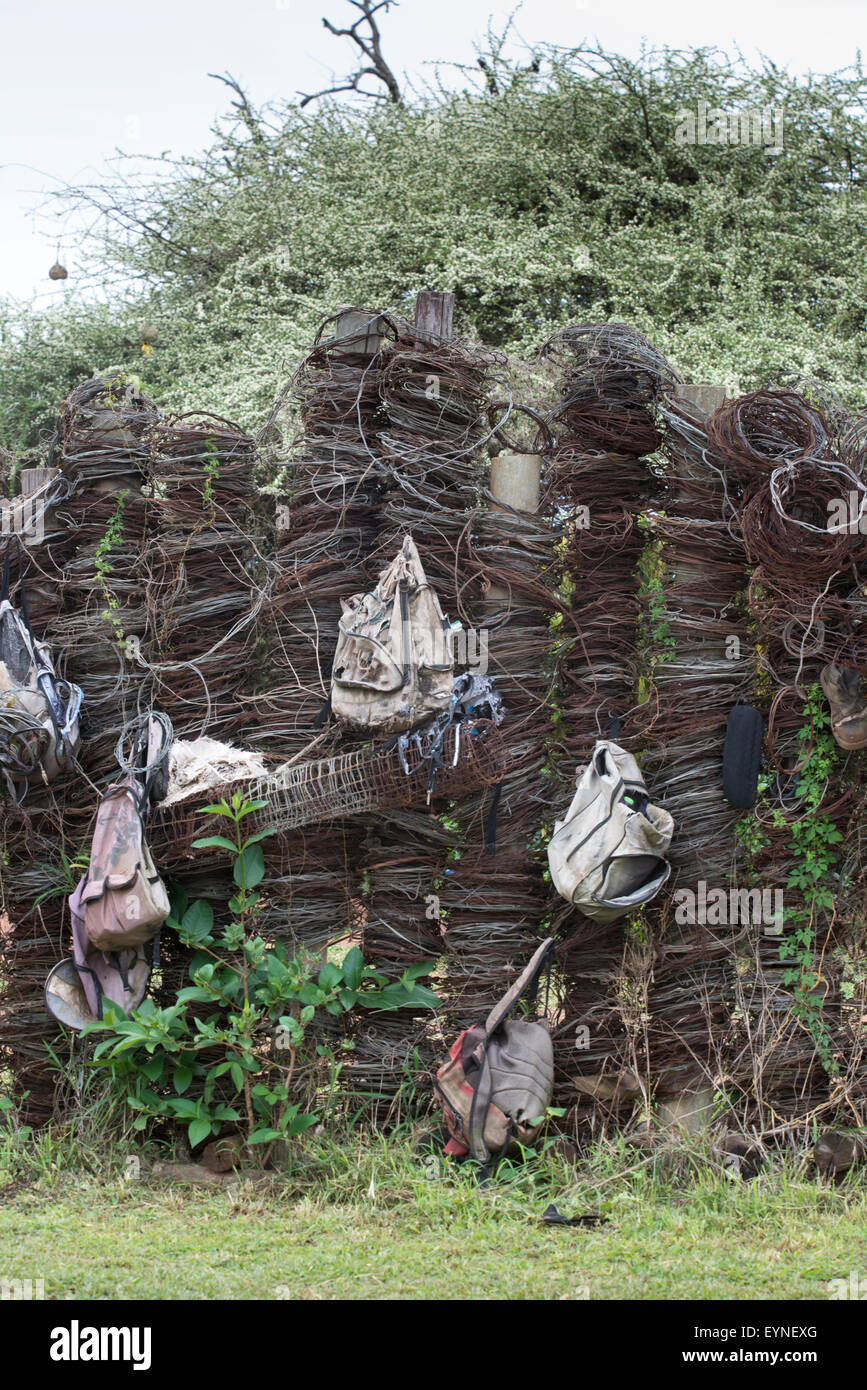 Display of wire snares and backpacks collected from poachers in Hlane National Park, Swaziland - Stock Image