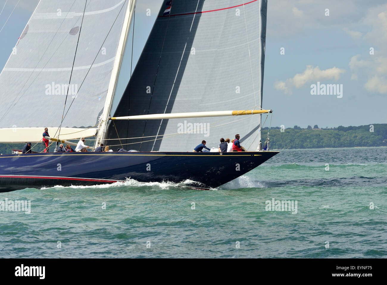 . Velsheda ( JK7) ( UK) laying the course for the windward buoy  in the 3 J-Class yachts race in  the Solent on Stock Photo