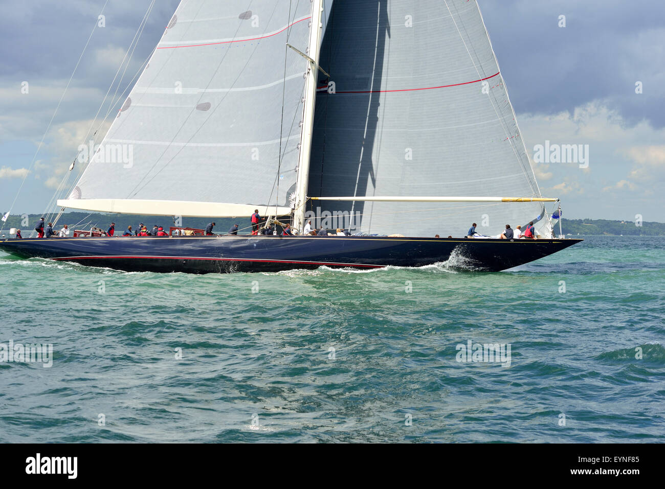 Velsheda ( JK7) ( UK) laying the course for the windward buoy  in the 3 J-Class yachts race in  the Solent on the Stock Photo
