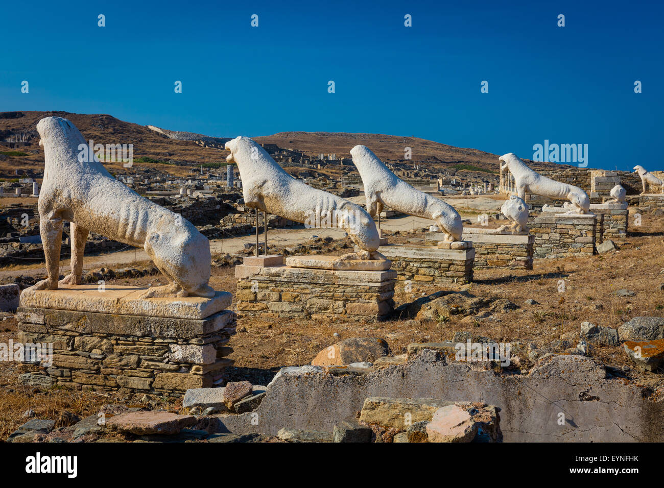 The island of Delos, near Mykonos, near the centre of the Cyclades archipelago, is one of the most important mythological, - Stock Image