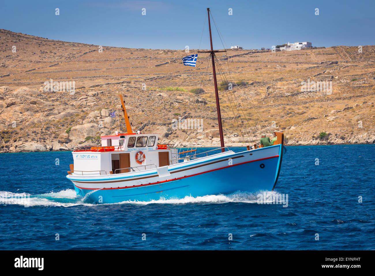 Greek boat in the Aegean Sea near the island of Delos - Stock Image