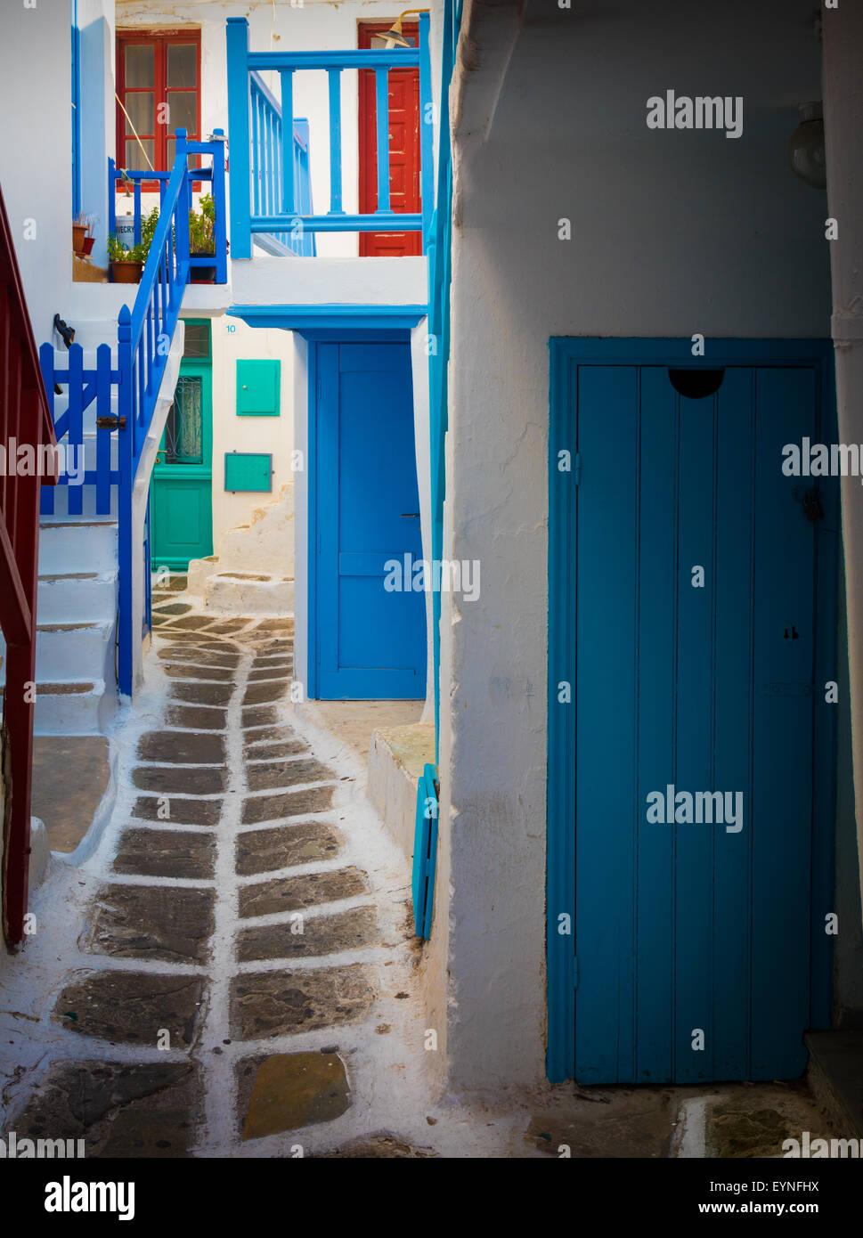 Streets in Mykonos town on the Greek island of Mykonos. - Stock Image