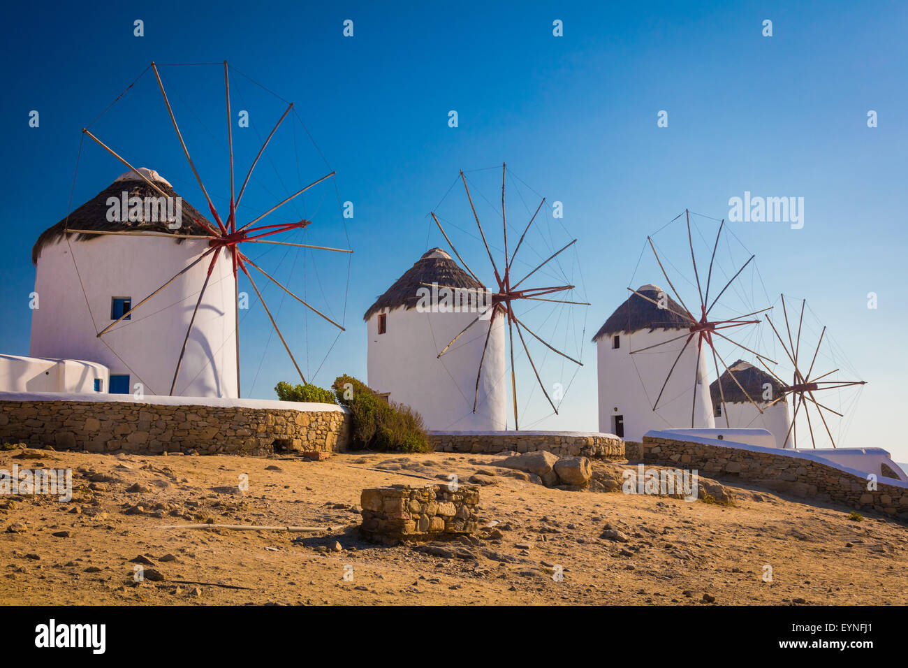Mykonos windmills - The windmills are a defining feature of the Mykonian landscape. - Stock Image