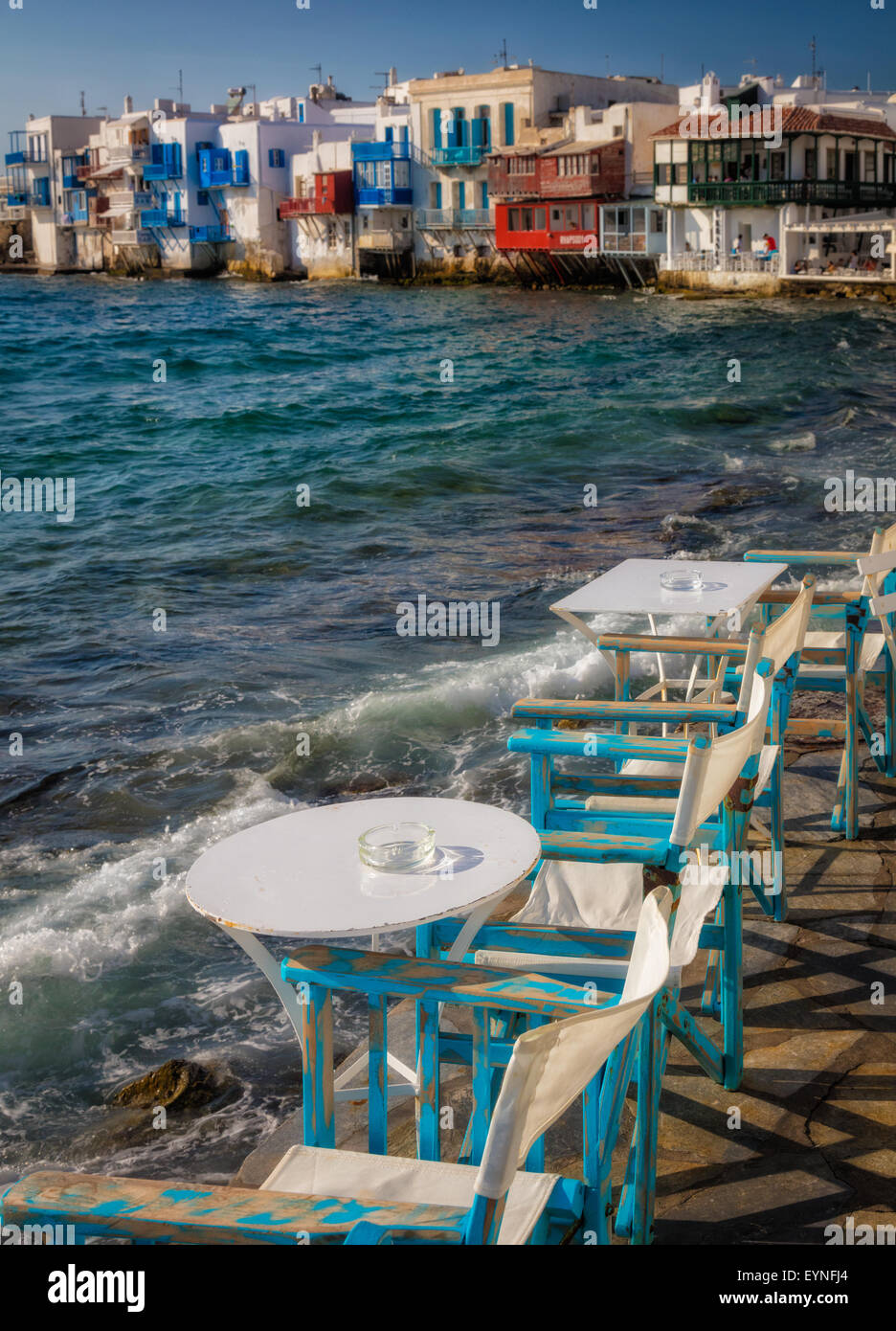 Mykonos Little Venice - rows of fishing houses line the waterfront with their balconies hanging over the sea. - Stock Image
