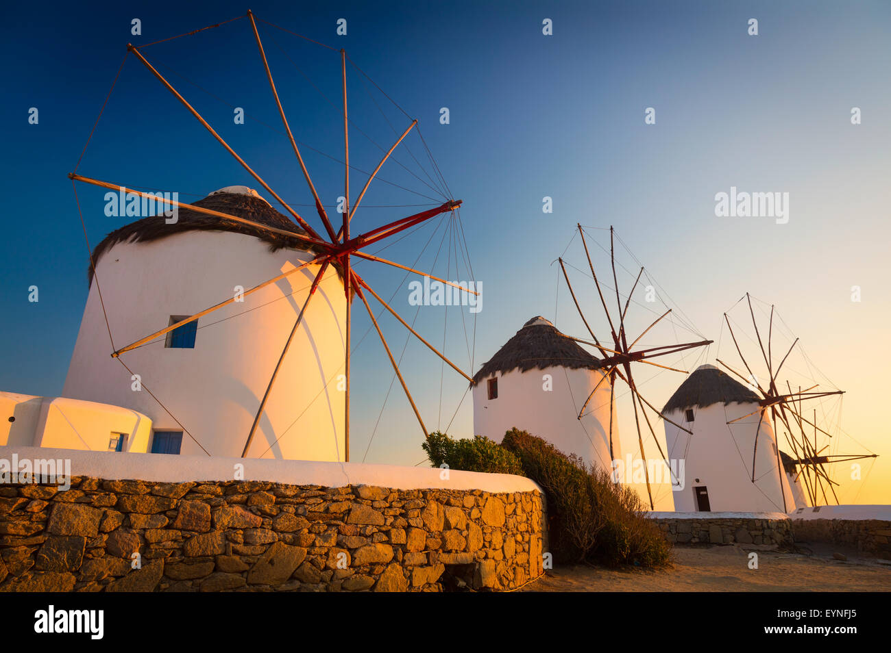 Mykonos windmills - The windmills are a defining feature of the Mykonian landscape. Stock Photo