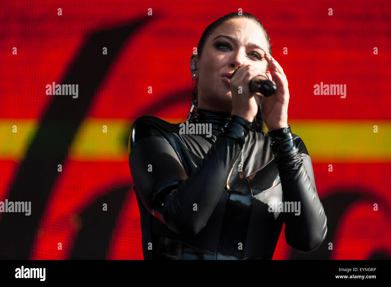 Brighton, UK, 1st August 2015. Tulisa performs on the Main Stage at Brighton's Pride festival event at Preston Park. Stock Photo