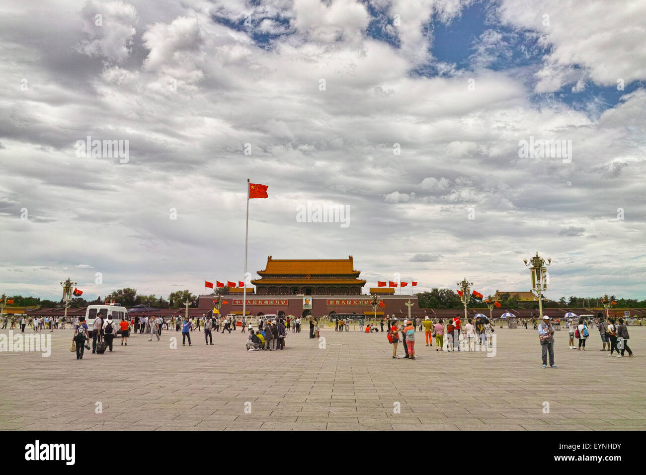 Crowd tourists in Tiananmen Square - Stock Image