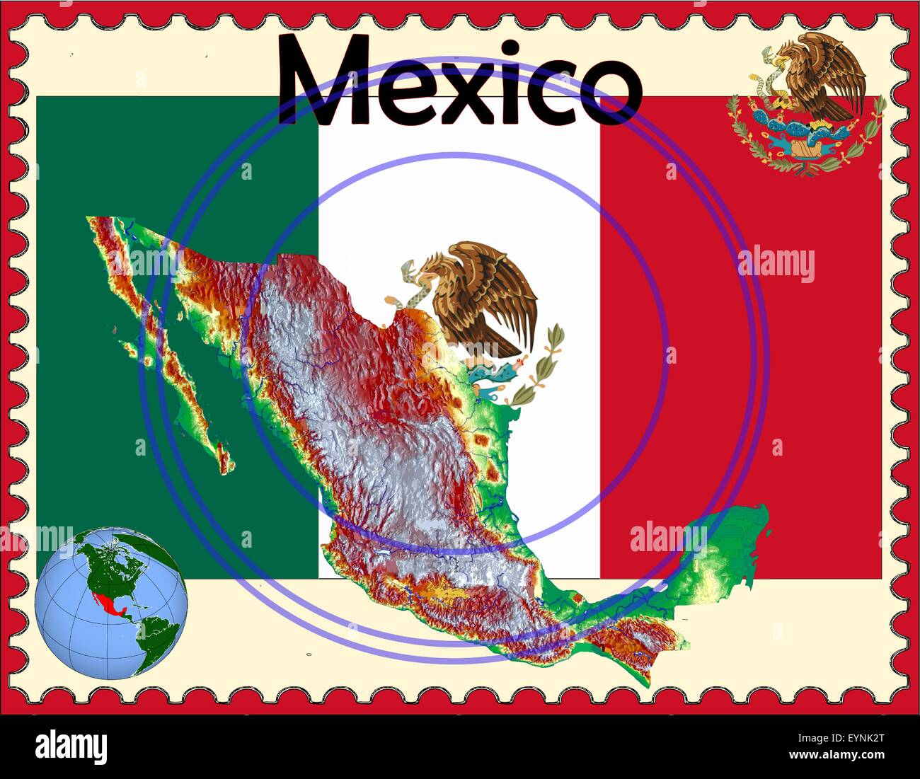 Mexico map flag coat stamp - Stock Image