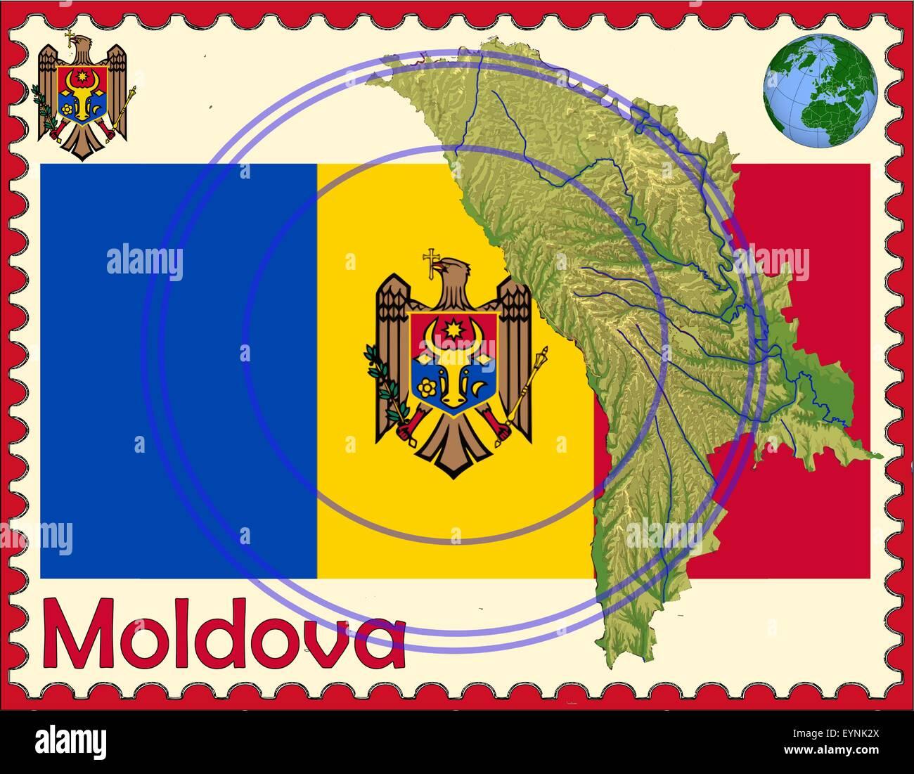 Moldova Map Flag Coat Stock Photos & Moldova Map Flag Coat