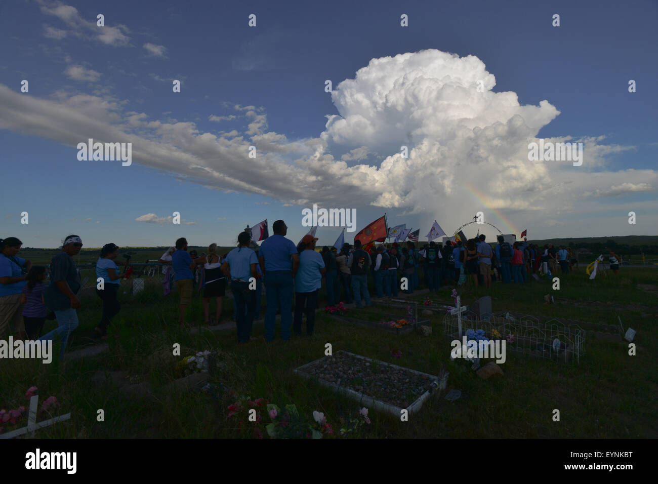 Pine Ridge Reservation, South Dakota, US. 1st Aug, 2015. Hundreds of Lakota Riders from all over the US and Canada, Stock Photo