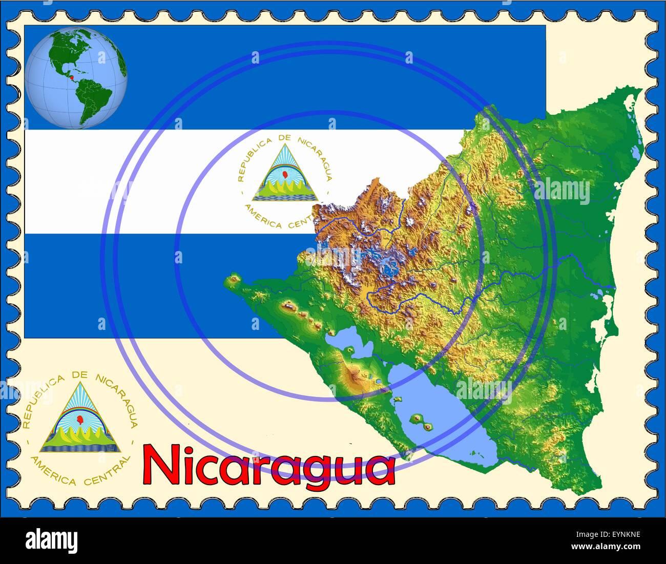 Nicaragua map flag coat stamp - Stock Image