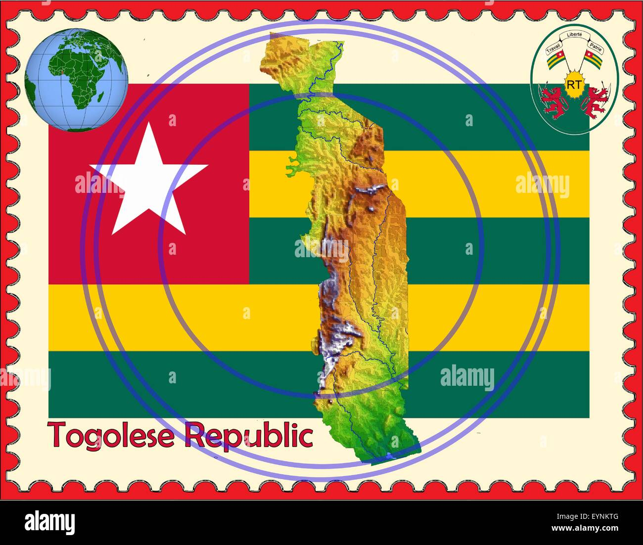 Togo map flag coat stamp - Stock Vector