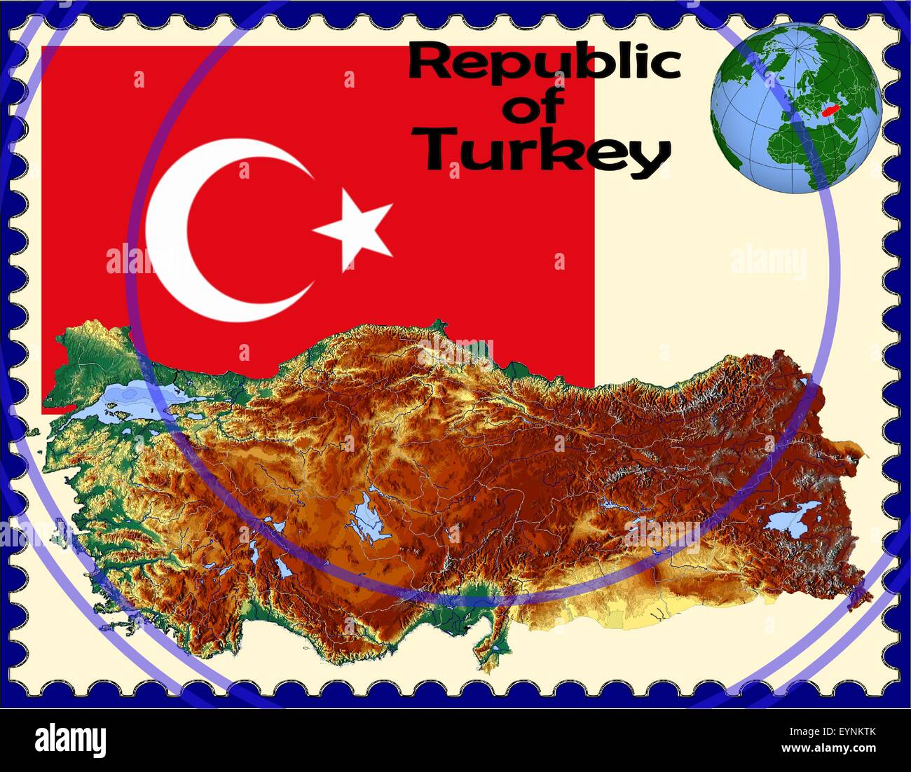 Turkey map flag coat stamp - Stock Vector