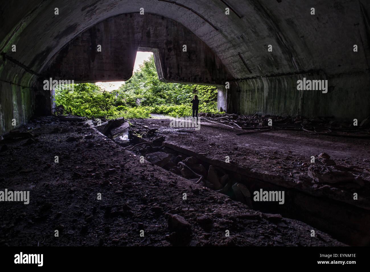 Hangar tunnel in the old jugoslavian anti atomic base of Zeljava, on the border Croazia, Bosnia and Erzegovina - Stock Image