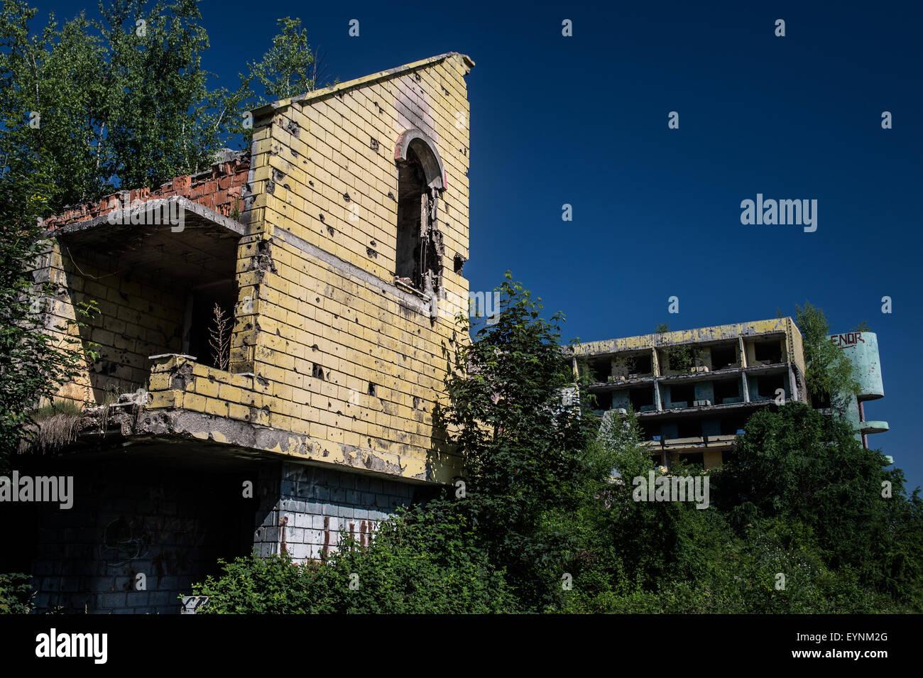 1992-95 civil war destroyed buildings, Sarajevo, Bosnia and Erzegovina Stock Photo