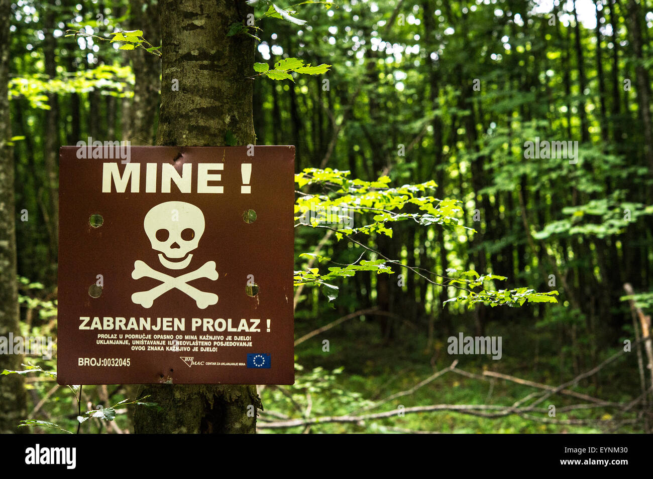 Minefield warning sign, Grabez, Bosnia and Erzegovina - Stock Image