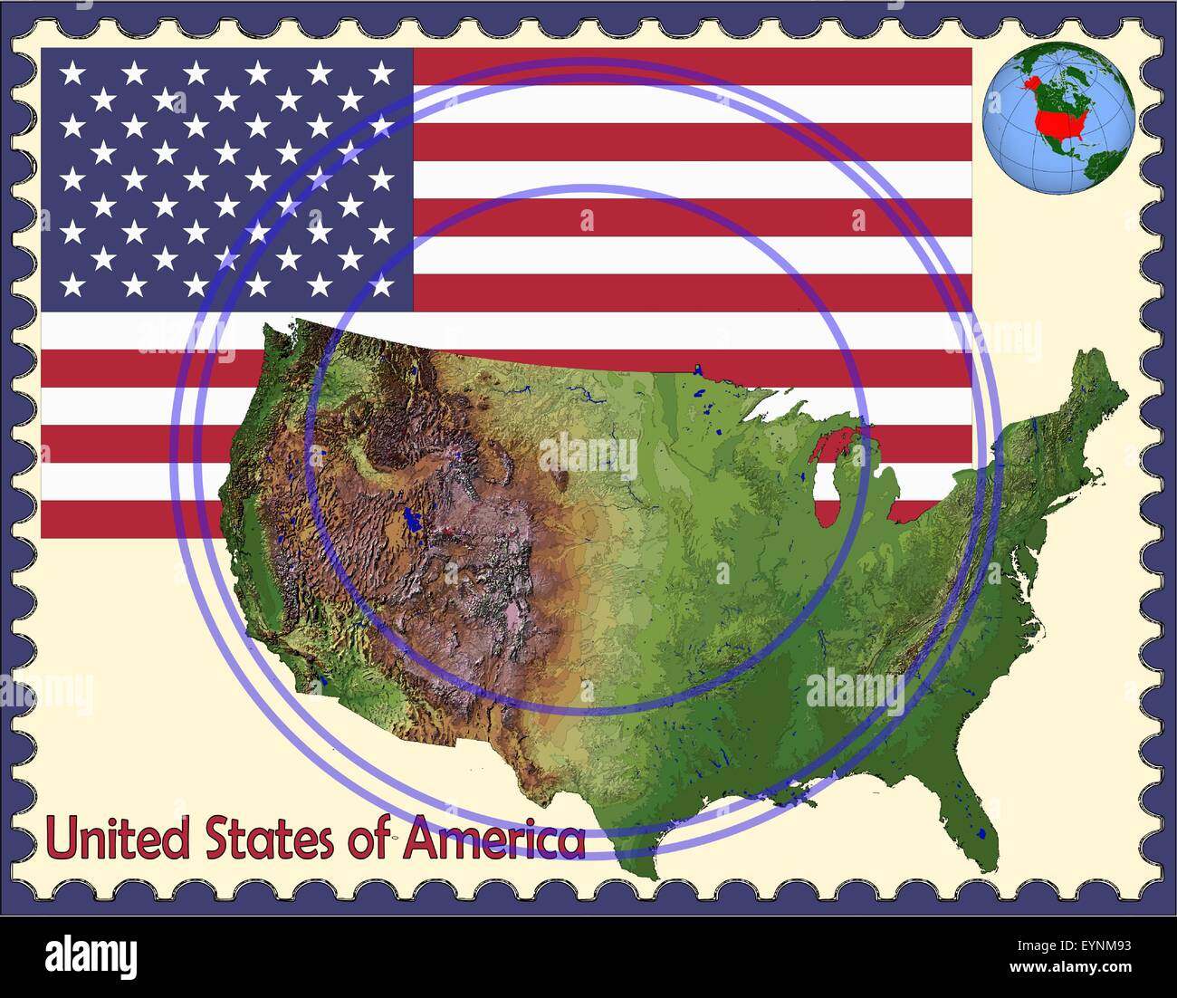 United States map flag coat stamp - Stock Vector