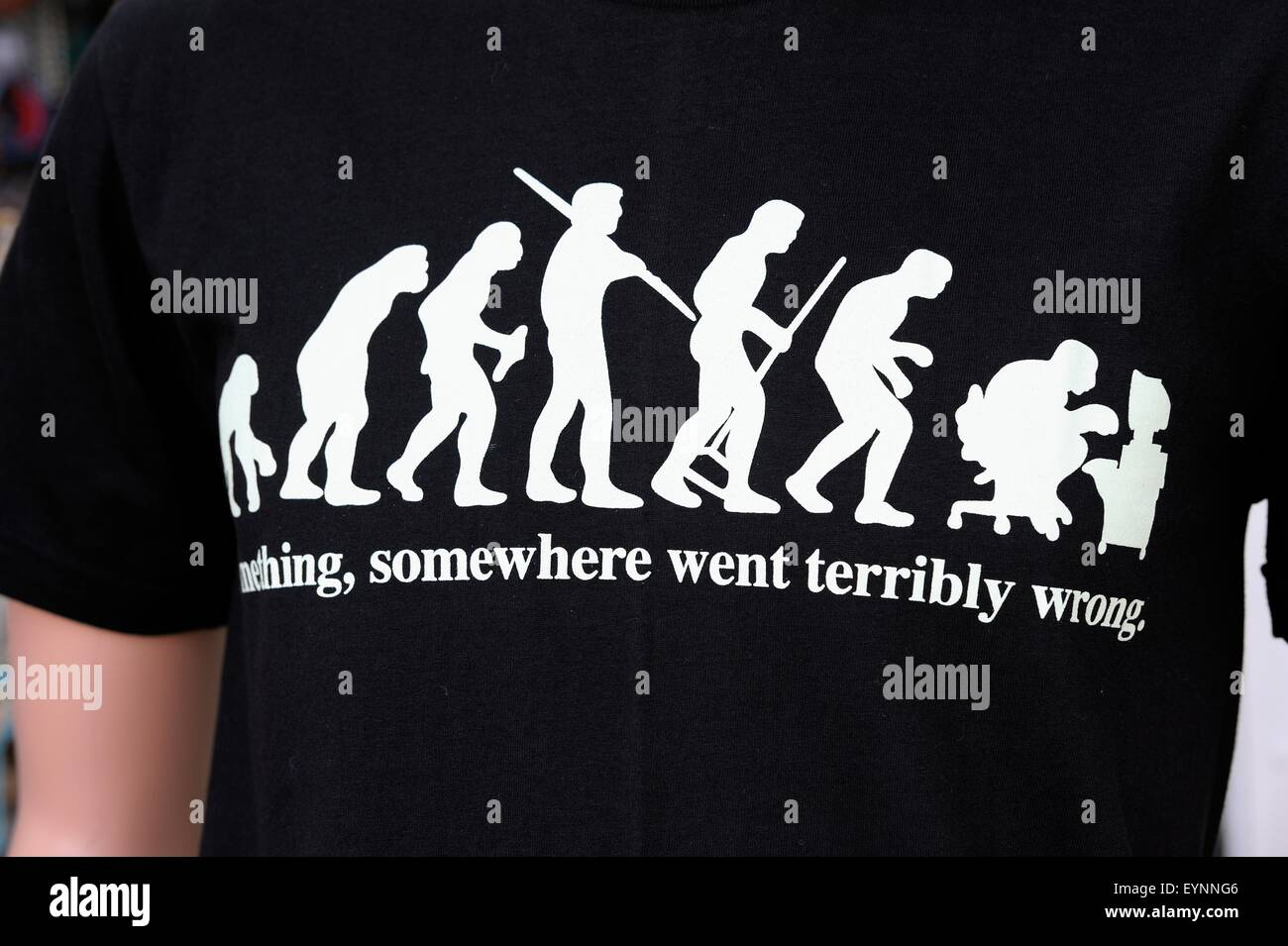 An evolution of man printed t shirt showing end stage as a computer geek. something somewhere went terribly wrong - Stock Image