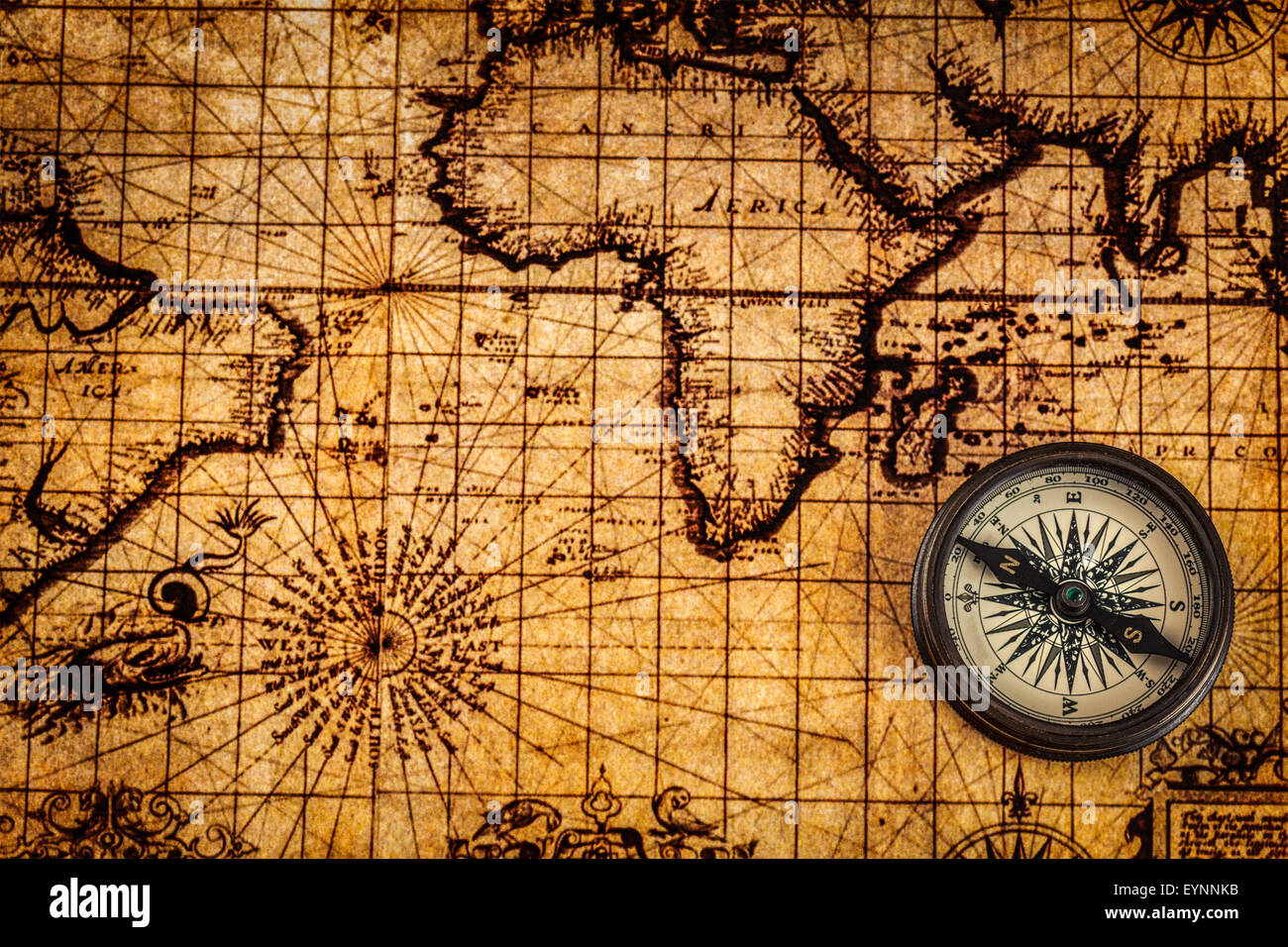 Navigation World Map.Travel Geography Navigation Concept Background Old Vintage Retro
