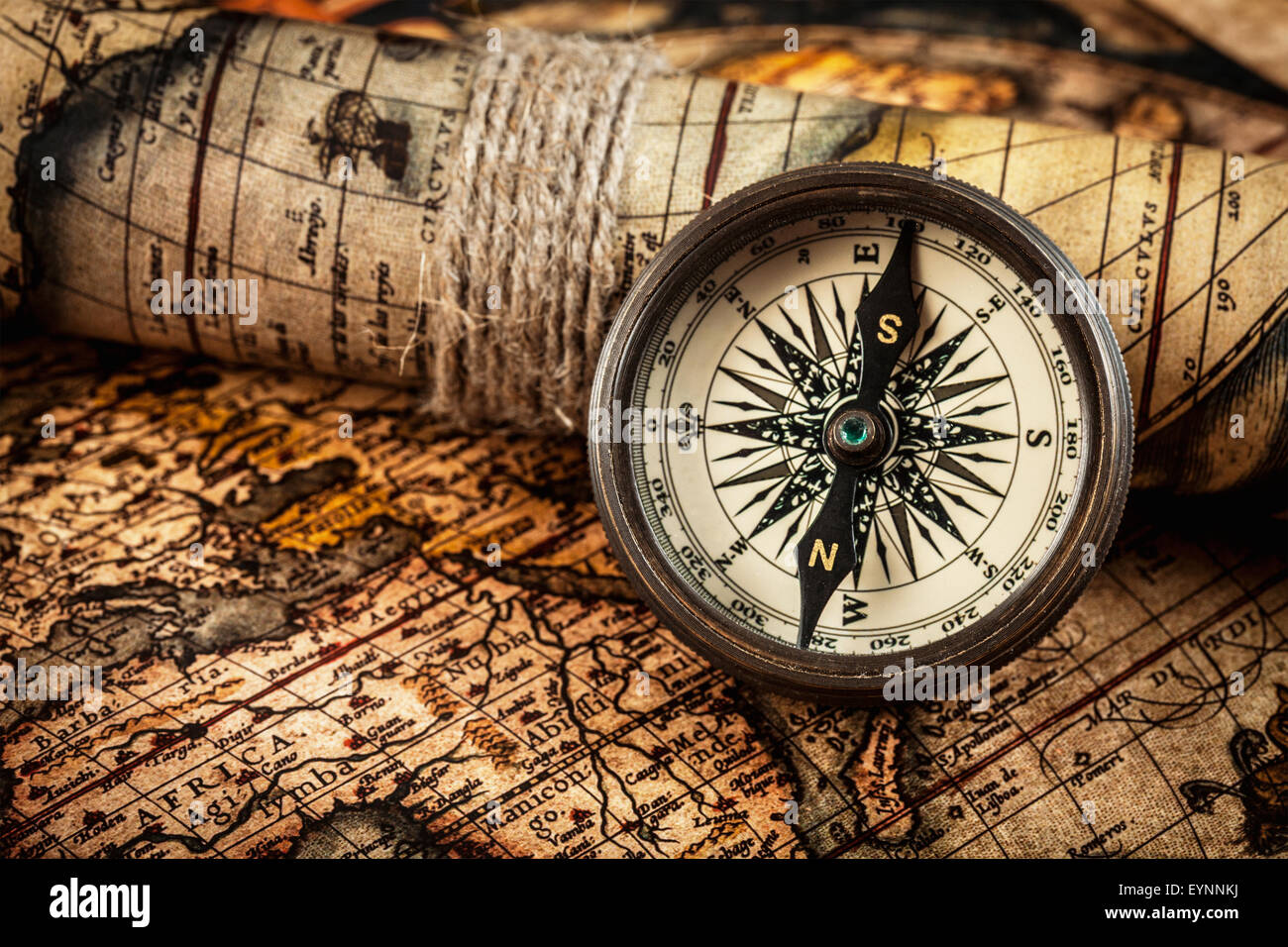 Old vintage compass on ancient map Stock Photo: 85915190 ...