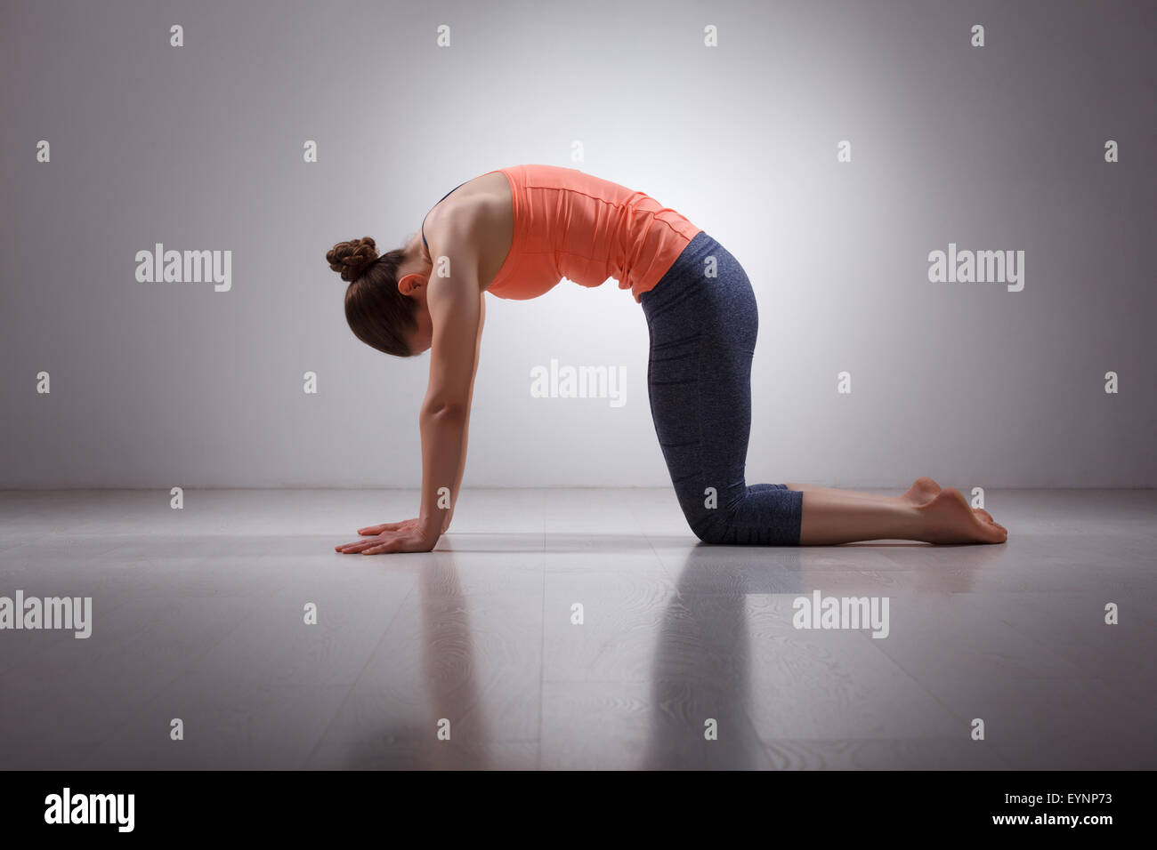 Beautiful sporty fit yogini woman practices yoga asana marjarias - Stock Image