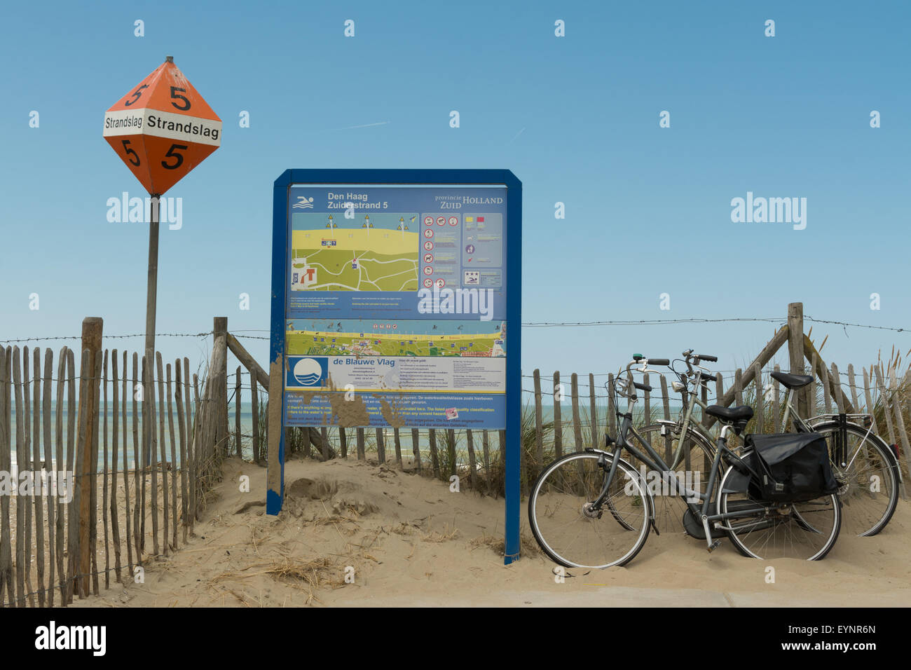bikes and information for blue flag beach at Zuiderstrand 5, Kijkduin, Schevening The Hague, Netherlands - Stock Image